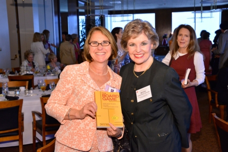 "Ann McElaney-Johnson, president of Mount St. Mary's College (left) with Betsy Berkhemer-Credaire (right) at the national launch of ""The Board Game: How Smart Women Become Corporate Directors."""