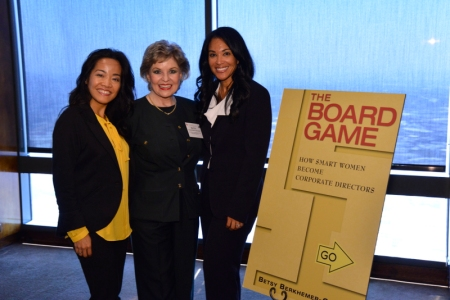 Kathlina Lai from Sempra Energy (left), Betsy Berkhemer-Credaire (center) and Denita Wolloughby, Southern California Gas Company Regional Vice President of External Affairs celebrate the launch of Betsy's new book.